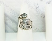 Spoon Ring - The ORIGINAL Adjustable Silver Elephant SPOON RING - Lucky Elephant Ring - by BirdzNbeez - Wedding Friendship Birthday Gift
