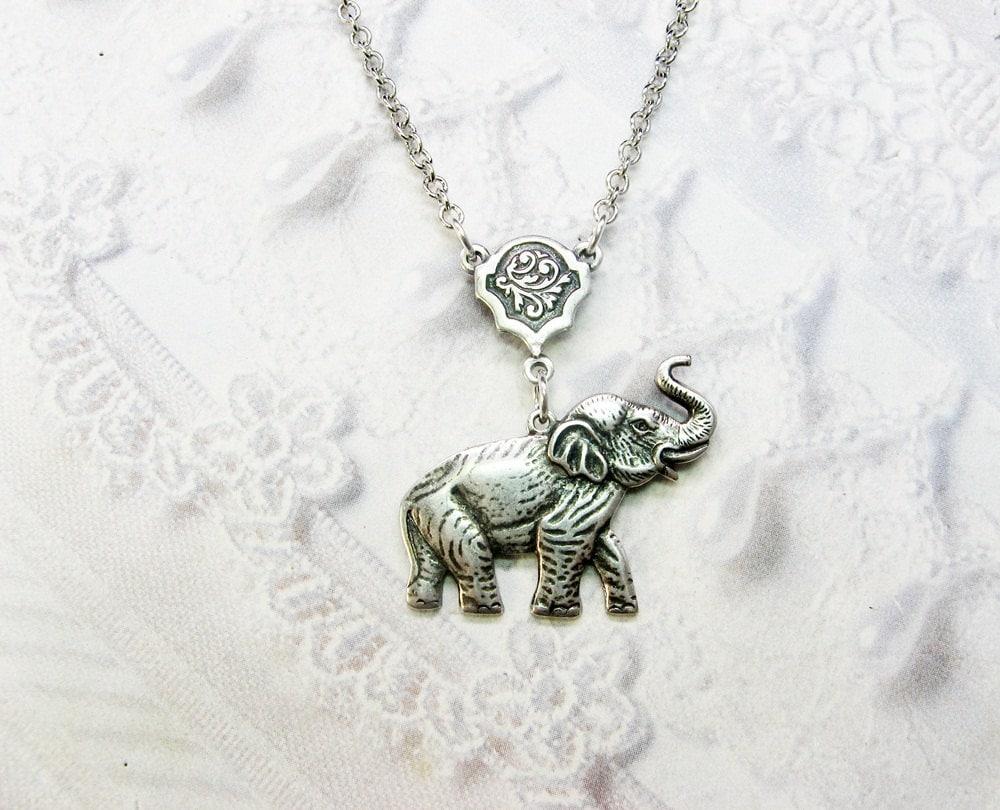 silver necklace silver elephant necklace lucky elephant