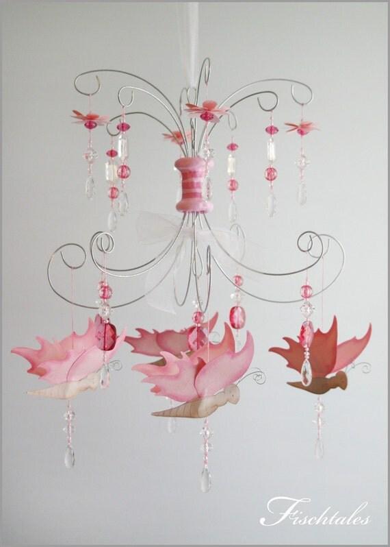 Pink nursery chandelier thejots items similar to pink butterfly chandelier baby mobile nursery lighting ideas aloadofball Choice Image