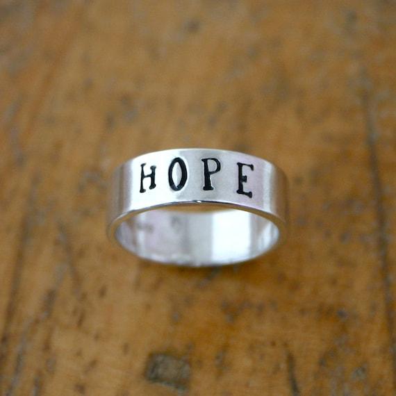 Sterling silver HOPE ring - wide custom name ring