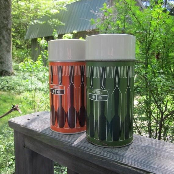 Two Vintage Thermos Bottles - Retro Decor