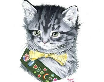 Kitten Scout  - Limited Edition art print by Ryan Berkley