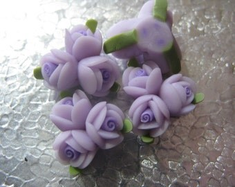 Lavender PurpleTriple Rose Flower Polyclay  Beads ( 4 ) 18mm