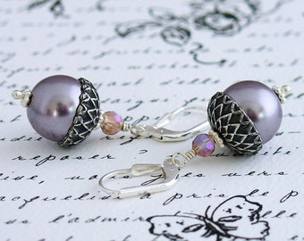 Sweet Oak Acorn Pearl Earrings - Mauve Swarovski Crystal Pearls, Antique Silver Acorn Bead Caps, Czech Crystals, Sterling Silver