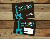 You Rock Valentine card, rock and roll guitar printable valentine, editable pdf - instant download