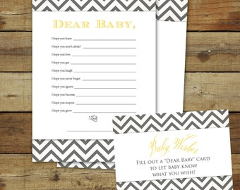 Printable baby shower game, instant download, gender neutral Wishes for Baby, yellow & gray chevron