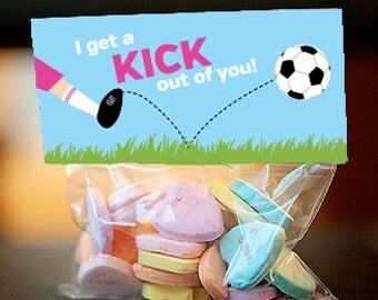 Soccer treat bag topper, soccer party favor for girls, sports birthday party favor, I get a kick out of you, editable pdf - instant download
