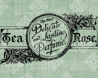 Digital Download Tea Rose Perfume label, Victorian Antique Illustration, Vintage drawing, digi stamp, digis