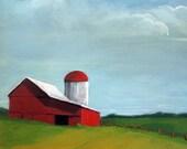 RED BARN farm landscape original oil painting