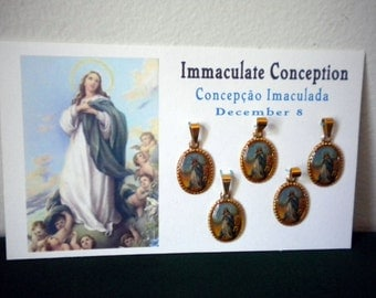 Five mini medals of the Immaculate Conception of Mary (Concepcao Imaculada) from Brasil