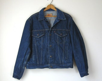 Denim Jacket Levis Jean Jacket 1980s Blue Jean Jacket Levi Strauss Made in USA Size Large