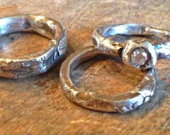 Rustic Wedding Rings Unique engagement set Artisan urban primitive ecofriendly handmade diamond alternative white sapphire custom wedding