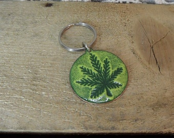 Keychain Copper Enameled key chain / ring / pot leaf / 420 / marijuana / melon yellow green