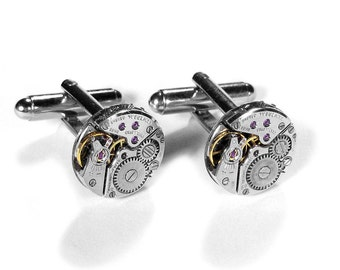 Mens Watch Cufflinks Luxury UNIVERSAL Genève Round Watch Cuff Links, Weddings, Anniversary Groom, Fiancee Cufflinks - Jewelry by edmdesigns