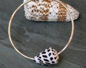 Cone Shell Bangle, 14k Gold filled Bracelet, Hawaiian Jewelry, 14 karat gold fill, Stacking Bangle, Stacking Bracelet, Natural Cone Shell