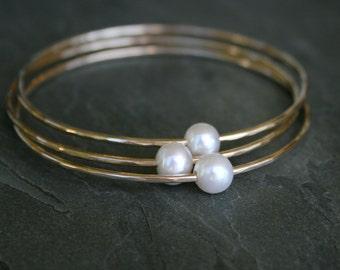 14k Gold fill Bangles, Bracelets, Pearl White Stacking Bracelet, Freshwater Pearl Bangles, Stack Bangle, 14 Karat Gold Filled