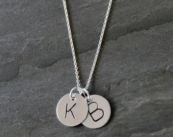 Duo Initial Letter Charm, Sterling Silver Necklace, Two Custom Letter Charms, Personalized, Monogram Jewelry, Mothers Necklace hand stamped