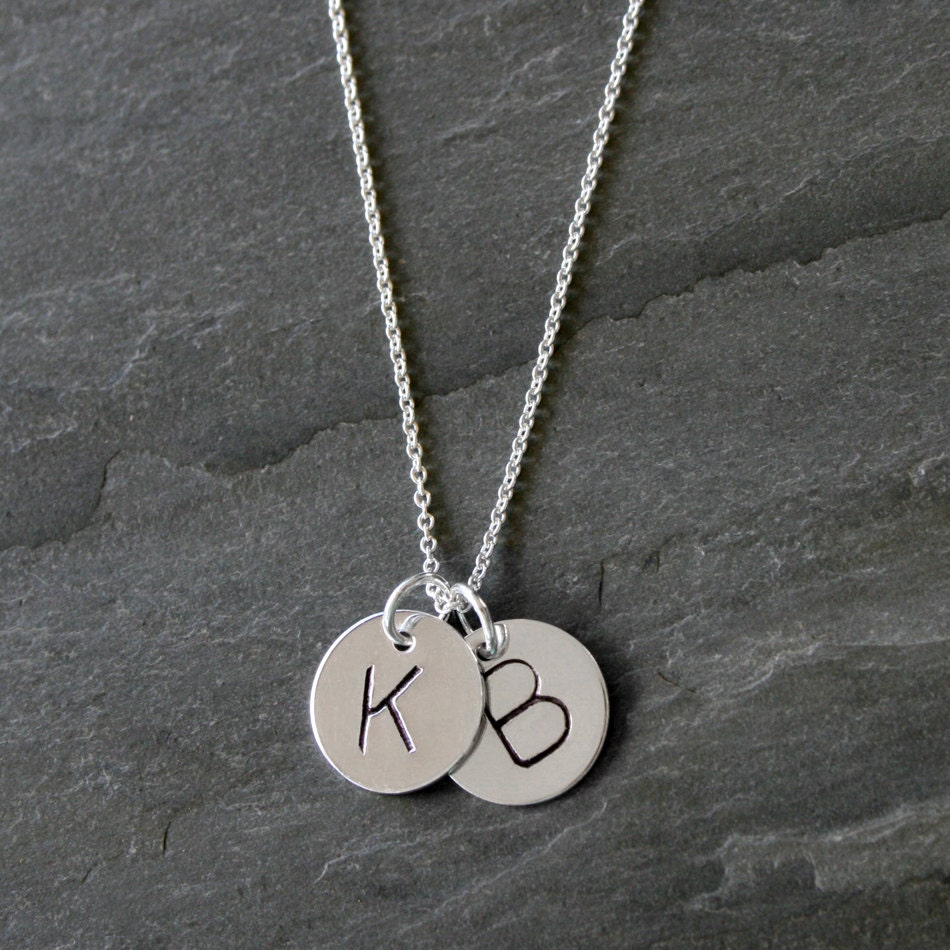 duo initial letter charm sterling silver necklace two custom