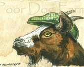 ACEO signed PRINT - A Nobby Goat in a Hat