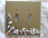 GOLD- Seashell-Double Switch Plate (Midway Sized).