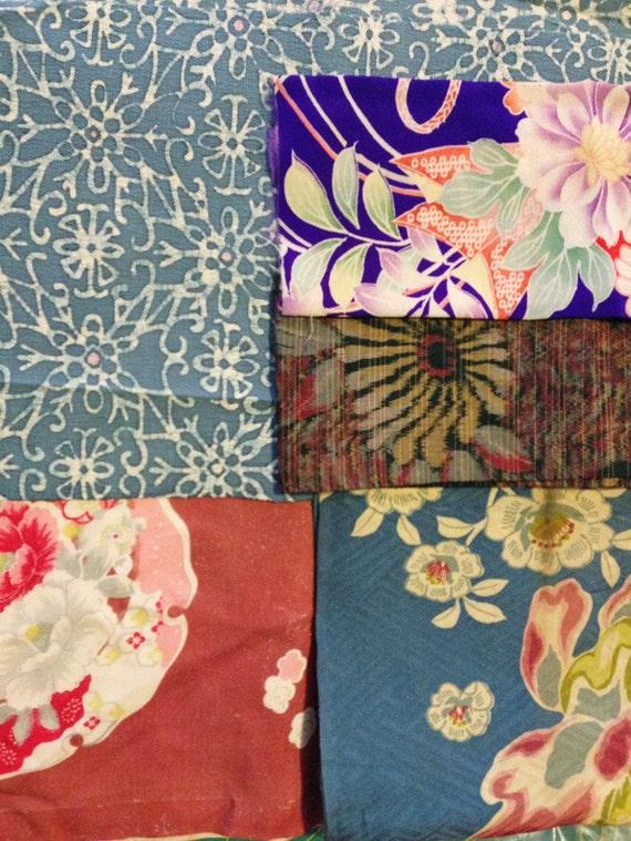 Vintage Japanese kimono silk fabric scraps mix 3 bouquet of flowers