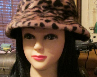1960's Cloche Hat Leopard Faux Fur True Vintage