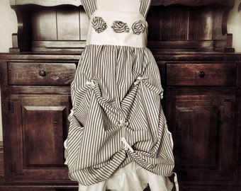 Girls' ticking and tied dress