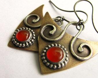 Carnelian Earrings, Sterling Silver And Bronze Contemporary Earrings, Metalwork Jewelry, Modern Tribal Orange Gemstone Mixed Metal Earring