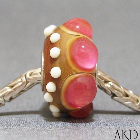 OOAK European Charm Big Hole Bead Fits Troll Bracelet SRA Lampwork Glass Bead Wicked Pink Rose Bud