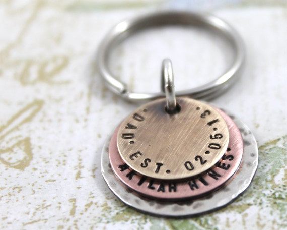 Father's Day Gift, Personalized Keyring, Gift for Men, New Dad, Custom Keychain, Father Gift, Custom Hand Stamped, Engraved Keyring