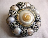 Polymer Clay Brooch Pin With Luminous White Shell and Pearls