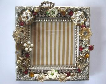 Antique Garden Vintage rhinestone encrusted picture frame