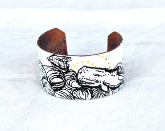 Handcrafted Jewelry - White Whale Cuff - Enamel & Glass Bracelet