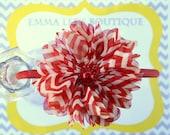 Red Chevron Chiffon Puff Flower Headband