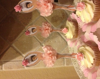 Pretty Ballerina Cupcake Toppers for Birthday Party