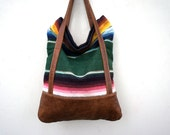 Luella in Vintage Mexican Blanket with Brown Leather Accents