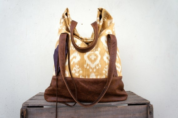 NEW///Luella in Yellow Ikat with Brown Leather Accents