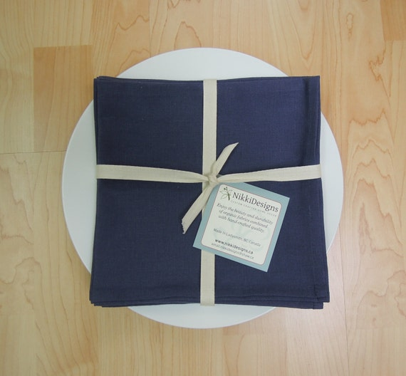 Organic  Napkins, Table Linens,  Hemp Cotton, Indigo Blue, 4