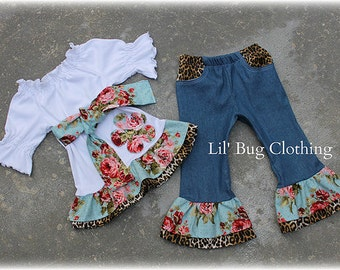 Custom Boutique Clothing Rose And Leopard  Sash Bow Knit Peasant Top And Denim Pant Outfit Girls