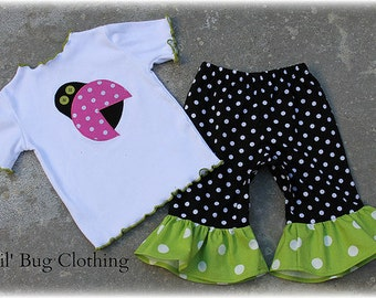 Custom Boutique Clothing  Lady Bug Tee and Polka Dot  Capris Pink And Lime