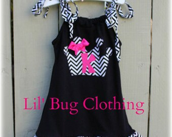 Custom Boutique Princess Crown Birthday Girl Personalized  Dress Black And Hot Pink Chevron