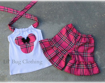 Custom Boutique Hot Pink And Black Plaid Minnie Mouse Short and Halter Top