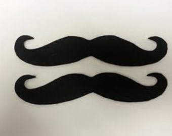 2 Pack Adhesive Felt Handlebar Mustache, Adhesive Mustache, Stick On Mustache, Fake Mustaches, Mustache Party Pack, Mustache Party Favors