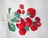 Vintage Tablecloth 50s Strawberry  Wilendur  55 x 50