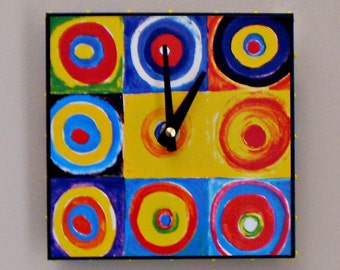 Bright Color Clock, Geometric Design Wall Clock, Concentric Circles, Kandinsky, Studio Clock, Kitchen, Office Decor, Functional Art