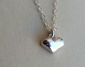 Heart Necklace - Tiny - Sterling Silver - Handmade - Cottage Chic - Miniature - Sweet Hearts - Heart Charm - Heart Jewelry