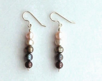 Pearl Earrings - Smoky - Natural - Ombre Earrings - Wire Wrapped - Earth Tones - Smoky Pearls - Dangles - Gifts Under 25 - Gradation - Soft