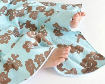 Baby Girl Minky Blanket Brown Cherry Blossoms with Blue