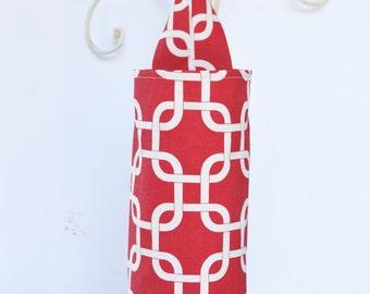 Plastic Bag Holder Dispenser Red Lattice