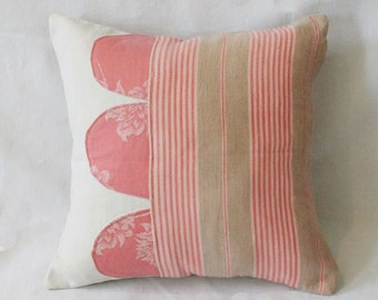 French cottage- French ticking pillow made of vintage ticking fabric and antique french linen 13x13 Cushion- eco friendly decorative pillow